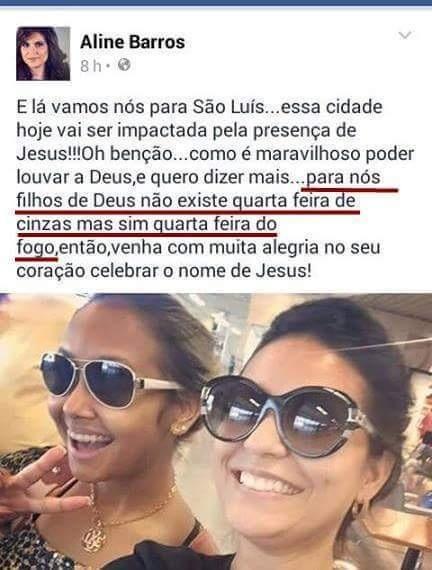 Aline Barros ataca os católicos (Crédito: Reprodução)
