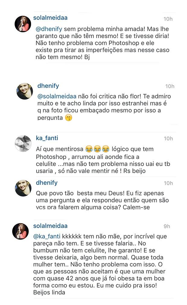 Solange Almeida responde seguidores (Crédito: Reprodução)