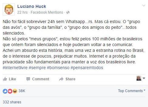 Luciano Huck lamenta bloqueio do WhatsApp e ganha resposta de Zuckerberg (Crédito: Reprodução)