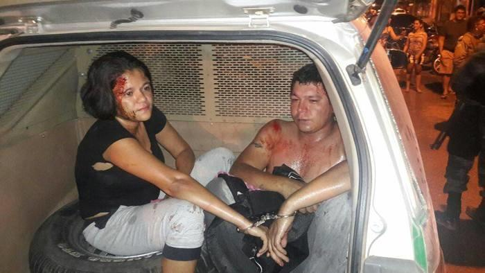 Casal espancado ao tentar assaltar clínica em Teresina (Crédito: Divulgação)