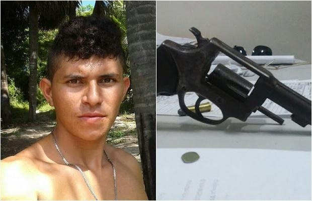 Jovem assassinado ao tentar sair de bar e a arma do crime   (Crédito: Reprodução)