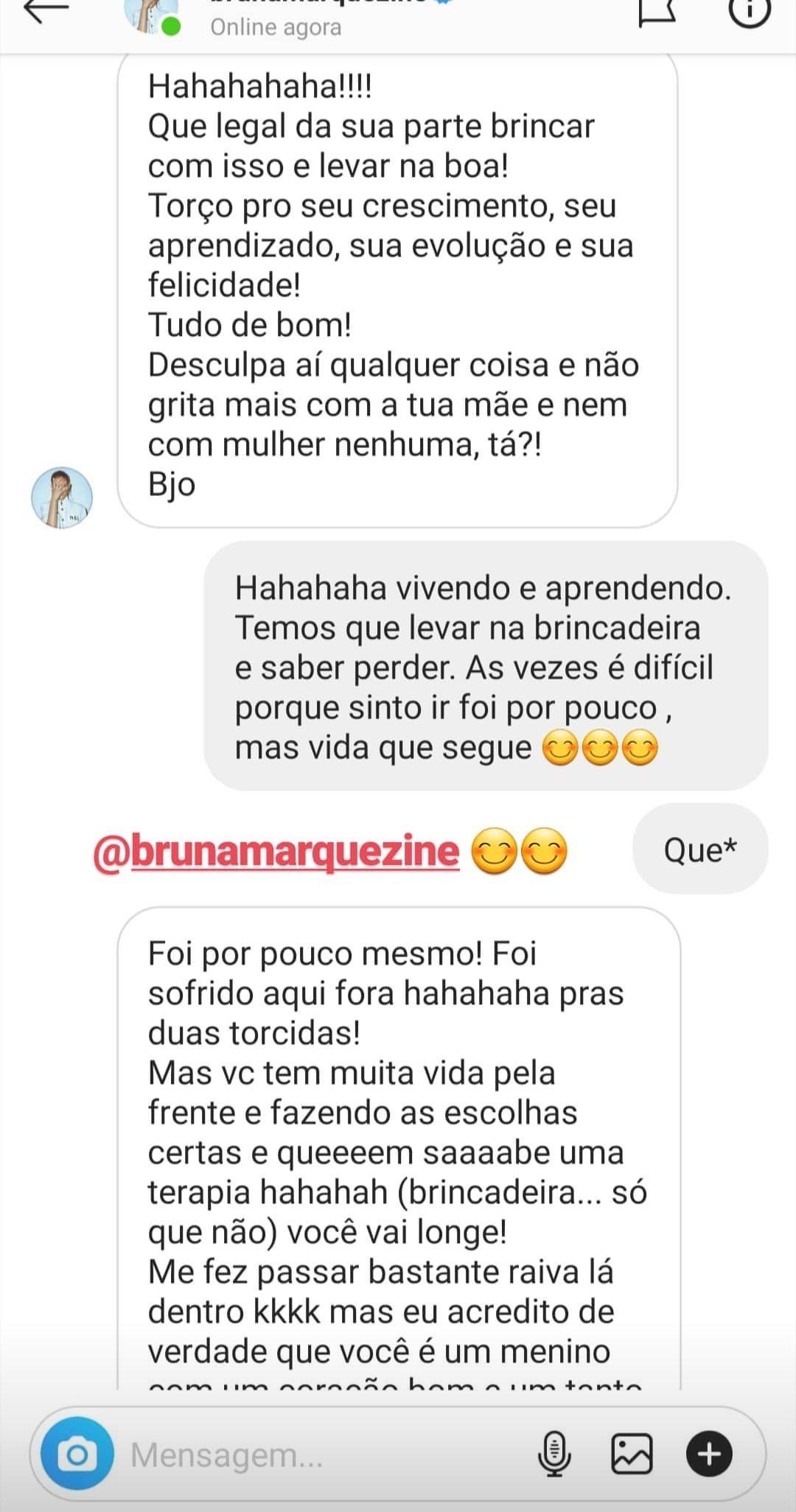 Em seguida, Bruna respondeu: